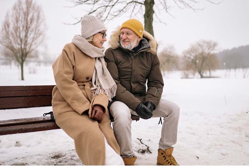 Couple on bench in winter